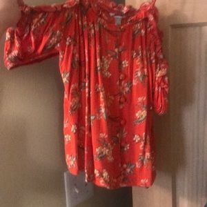 Red flowered off the shoulder top